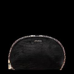 Trousse nera in velluto, Saldi Borse, 125921694VLNEROUNI, 001a
