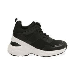 Sneakers nere in tessuto tecnico, zeppa 9 cm , Primadonna, 177590504TSNERO035, 001 preview
