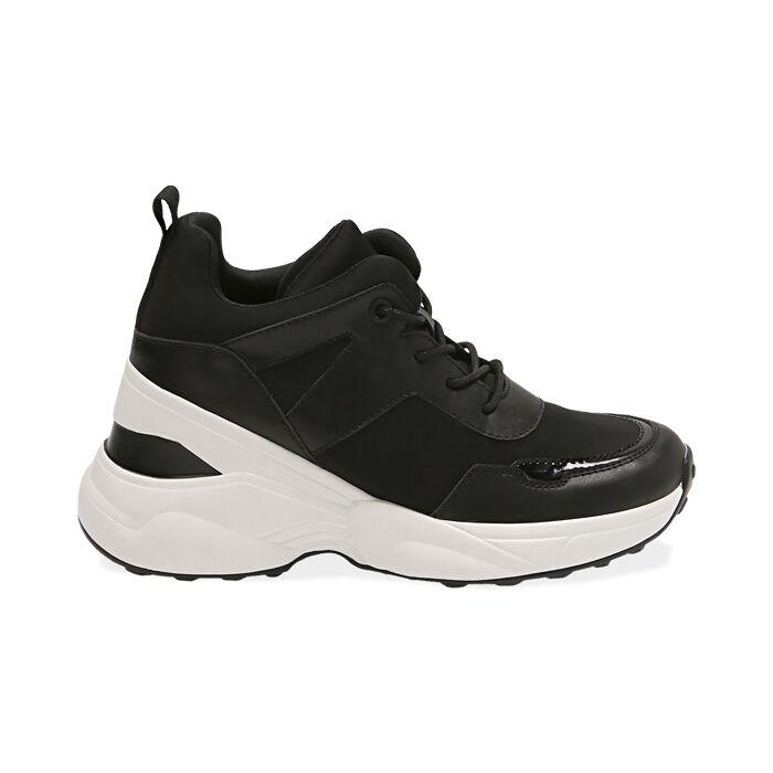 Sneakers nere in tessuto tecnico, zeppa 9 cm , Primadonna, 177590504TSNERO035