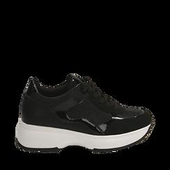 Sneakers nere glitter, zeppa 5 cm , Primadonna, 162800482GLNERO035, 001a