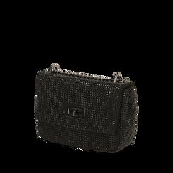 Borsa gioiello nera in microfibra, IDEE REGALO, 165122995MPNEROUNI, 002a
