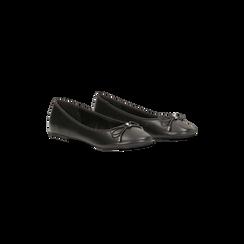 Ballerine nere punta tonda, con tacco basso, Primadonna, 124892351EPNERO035, 002