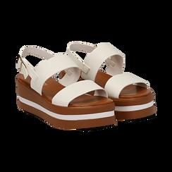 Sandali platform bianchi in eco-pelle, zeppa 5 cm ,