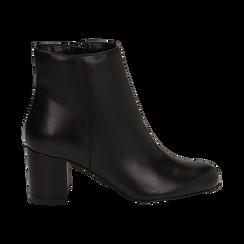 Ankle boots neri in pelle, tacco 7 cm , Stivaletti, 14D601101PENERO036, 001a
