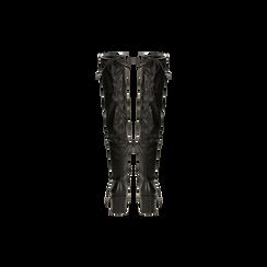 Stivali sopra il ginocchio neri suola in gomma, tacco 4 cm, Primadonna, 122808648EPNERO, 003 preview