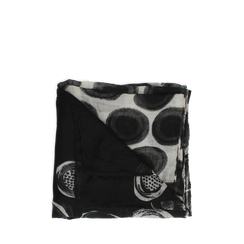 Pashmina nera in tessuto con stampa pois, Abbigliamento, 14B491013TSNEROUNI, 001a