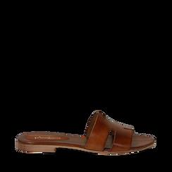 Sandalo flat cuoio in pelle di vacchetta, Scarpe, 137207245VACUOI036, 001a