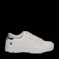 Sneakers bianche in eco-pelle dettaglio snake, Scarpe, 132619071EPBIAN035, 001a