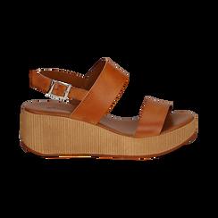 Sandali platform cuoio in eco-pelle, zeppa 5 cm , Saldi, 13C700258EPCUOI036, 001 preview