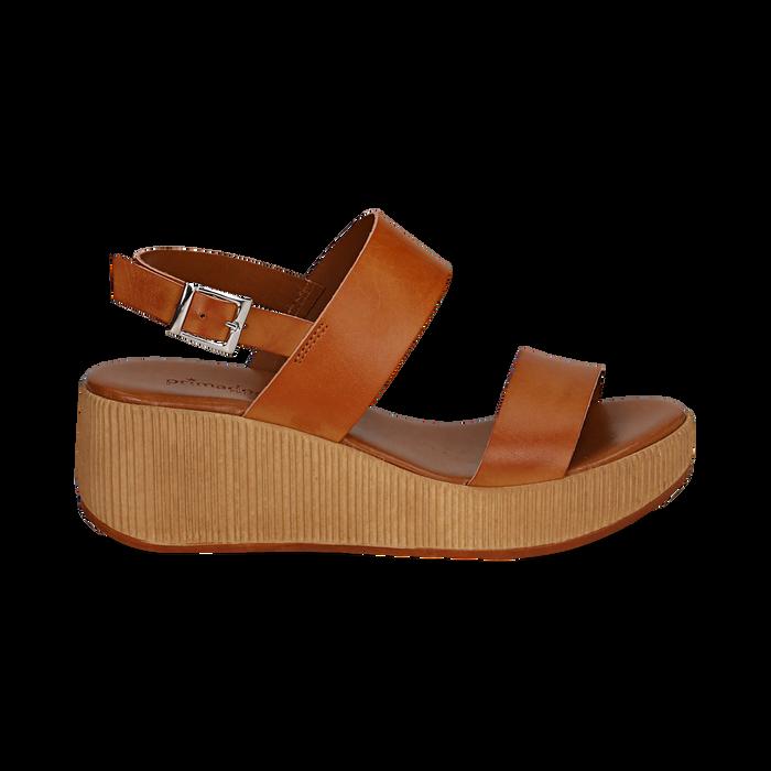 Sandali platform cuoio in eco-pelle, zeppa 5 cm , Saldi, 13C700258EPCUOI036