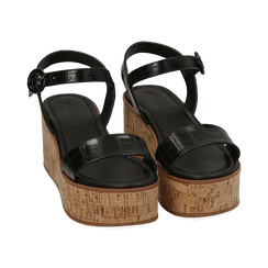 Sandali neri stampa cocco, zeppa 7,50 cm, Scarpe, 154967318CCNERO, 002 preview