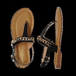 Sandali infradito neri in eco-pelle con catenella, Primadonna, 134988163EPNERO035, 003 preview