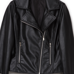 Biker jacket nera in eco-pelle,