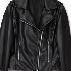 Biker jacket nera in eco-pelle, Primadonna, 136501161EPNEROL, 002a