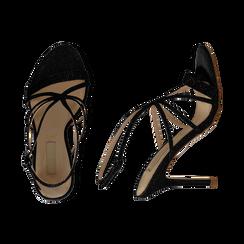 Sandali multilistino neri glitter, tacco 10,50 cm, Sandali con tacco, 132120882GLNERO035, 003 preview
