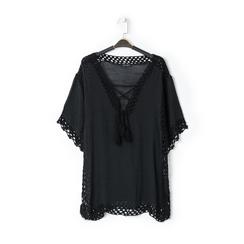 Caftano corto nero con lavorazione macramè, Abbigliamento, 13A345078TSNEROUNI, 001a