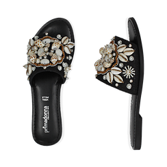 Ciabatte nere in rafia con conchiglie, Chaussures, 15K904446RFNERO036, 003 preview