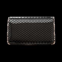 Pochette nera a rete in ecopelle vernice, Borse, 123308810VENEROUNI, 002 preview