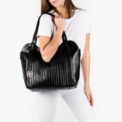 Maxi bag nera in eco-pelle plissettata, Primadonna, 151990281EPNEROUNI, 002a