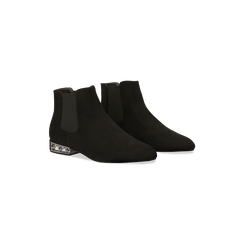 Chelsea Boots neri scamosciati, tacco basso scintillante, Primadonna, 124911285MFNERO035, 002