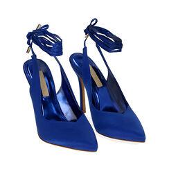 Slingback lace-up blu in raso, tacco 11 cm, Primadonna, 172168642RSBLUE036, 002 preview