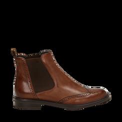 Chelsea boots cuoio in vera pelle, Stivaletti, 147729508PECUOI035, 001a