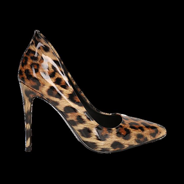 Décolleté leopard in vernice, tacco stiletto 10,50 cm , Scarpe, 142182592VELEOP035