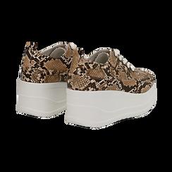 Sneakers beige in eco-pelle effetto snake print, zeppa 6 cm, Scarpe, 132008353PTBEIG036, 004 preview