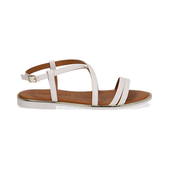 Sandali flat bianchi in eco-pelle, Primadonna, 136102003EPBIAN, 001 preview