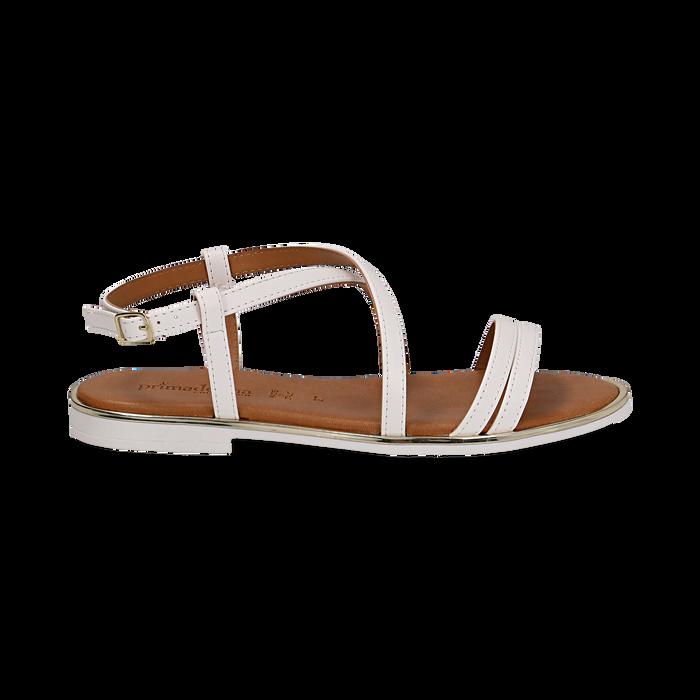 Sandali flat bianchi in eco-pelle, Primadonna, 136102003EPBIAN036
