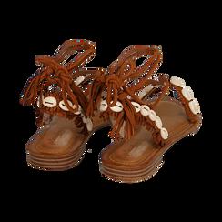 Sandali lace-up cuoio in microfibra con conchiglie, Scarpe, 154948229MFCUOI, 004 preview
