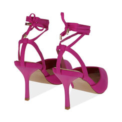 Slingback lace-up fucsia in lycra, tacco 9 cm , Primadonna, 172106281LYFUCS035, 004 preview