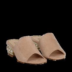 Ciabattine nude in microfibra, tacco gioiello 4 cm, Scarpe, 112182051MFNUDE036, 002a