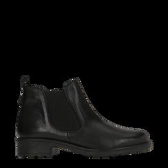 Chelsea Boots neri in vera pelle di vitello, Scarpe, 126905557VINERO036, 001a