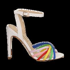 Sandali multilistino bianchi in eco-pelle effetto rainbow, tacco 11 cm, Sandali con tacco, 132120686EPBIAN035, 001 preview
