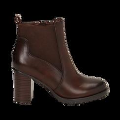 Chelsea boots cuoio in eco-pelle, tacco 8,5 cm , Scarpe, 143066110EPCUOI036, 001 preview