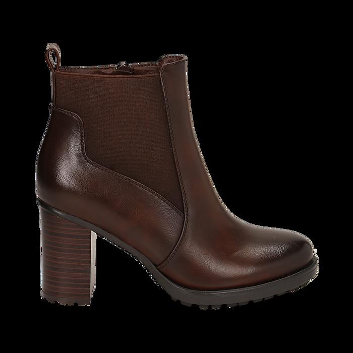 Chelsea boots cuoio in eco-pelle, tacco 8,5 cm , Scarpe, 143066110EPCUOI036