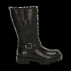 Bikers noirs en cuir avec tige haute, Promozioni, 16B811402PENERO035, 001 preview