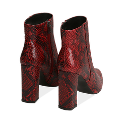 Ankle boots rossi in eco-pelle stampa pitone, tacco 9,5 cm , Primadonna, 142186672PTROSS035, 004 preview
