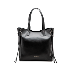 Borsa shopper nera in ecopelle con doppia zip anteriore, Borse, 122300304EPNEROUNI, 001 preview