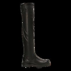 Stivali sopra il ginocchio neri, tacco 3,5 cm, Scarpe, 120681516EPNERO037, 001 preview