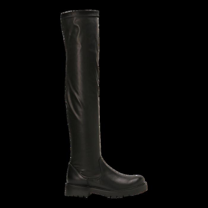 Stivali sopra il ginocchio neri, tacco 3,5 cm, Scarpe, 120681516EPNERO037