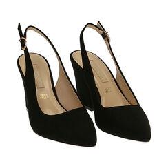 Slingback negro de microfibra, tacón 8,50 cm, Zapatos, 172183402MFNERO036, 002 preview
