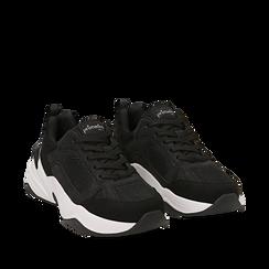 Dad shoes nere in microfibra, zeppa 4,50 cm, Sneakers, 142619462MFNERO035, 002a