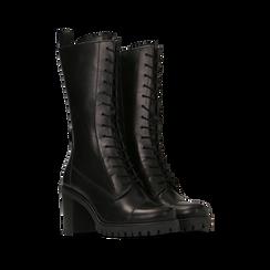 Anfibi neri in vera pelle con gambale alto, tacco 7,5 cm, Primadonna, 127723810PENERO035, 002