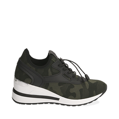 Sneakers camouflage in tessuto con zeppa, Sneakers, 152803421TSMILI035, 001a