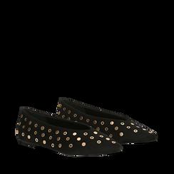 Ballerine nere in microfibra scamosciata e mini-borchie, tacco basso, Primadonna, 124991821MFNERO035, 002a
