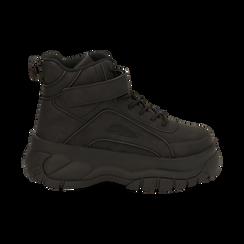 Sneakers platform nere in micro-nabuk, con strap, zeppa 5,50 cm , Scarpe, 14D814403MNNERO035, 001 preview