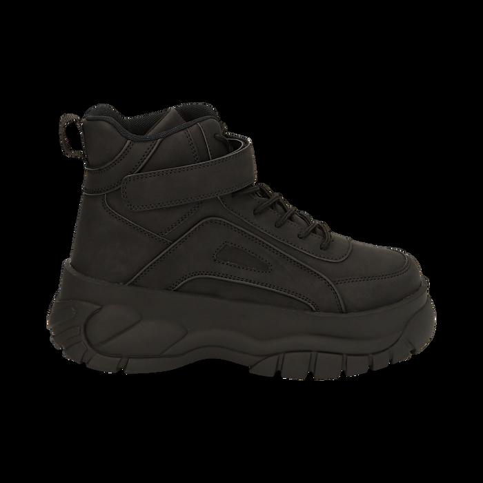Sneakers platform nere in micro-nabuk, con strap, zeppa 5,50 cm , Scarpe, 14D814403MNNERO035
