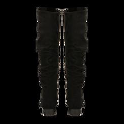 Stivali neri flat con gambale morbido, tacco 2,5 cm, Scarpe, 122705486MFNERO, 003 preview